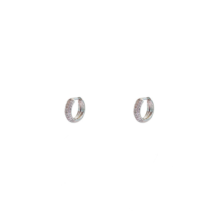 Brinco Argolinha Microcravejada P Banhada a Ródio Branco