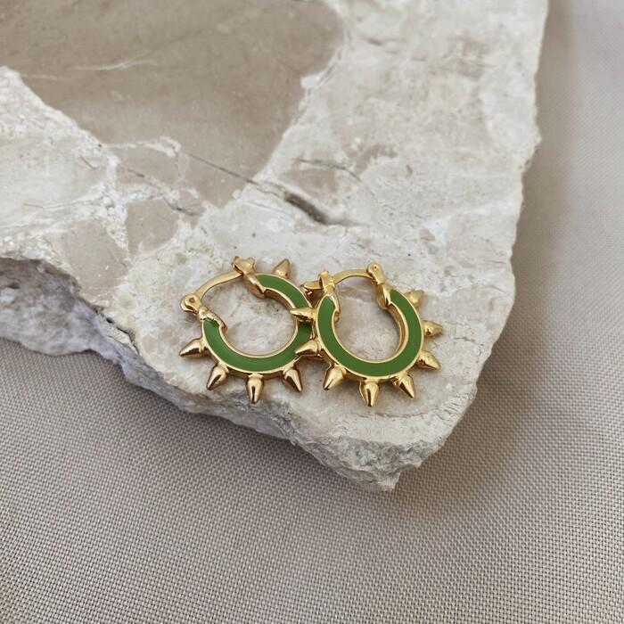 Brinco Argolinha Spike Esmaltada Verde Oliva Banhado a Ouro 18k