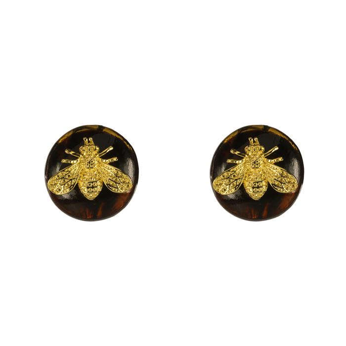 Brinco Botão Resina Tartaruga com Abelha Banhado a Ouro 18k