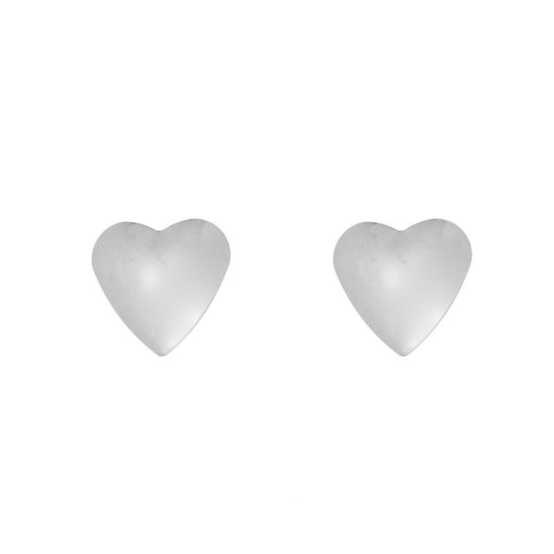 Brinco Coração Grande Liso Folheado a Ródio Branco