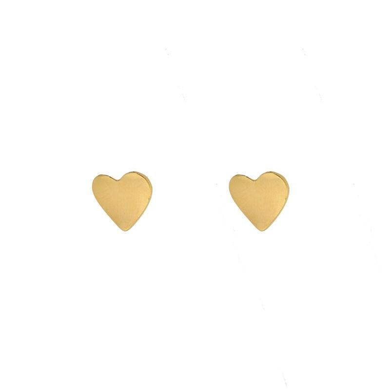Brinco Coração Minimalista Folheado a Ouro 18k
