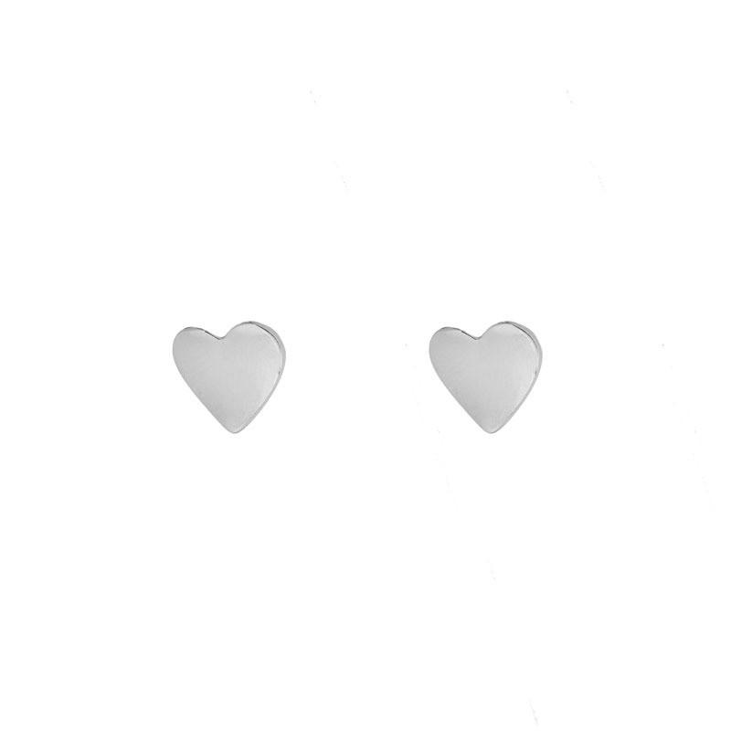 Brinco Coração Minimalista Folheado a Ródio Branco