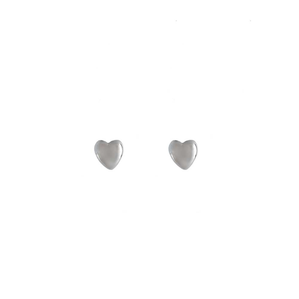 Brinco Coração Pequeno Cheio Liso Folheado Ródio Branco