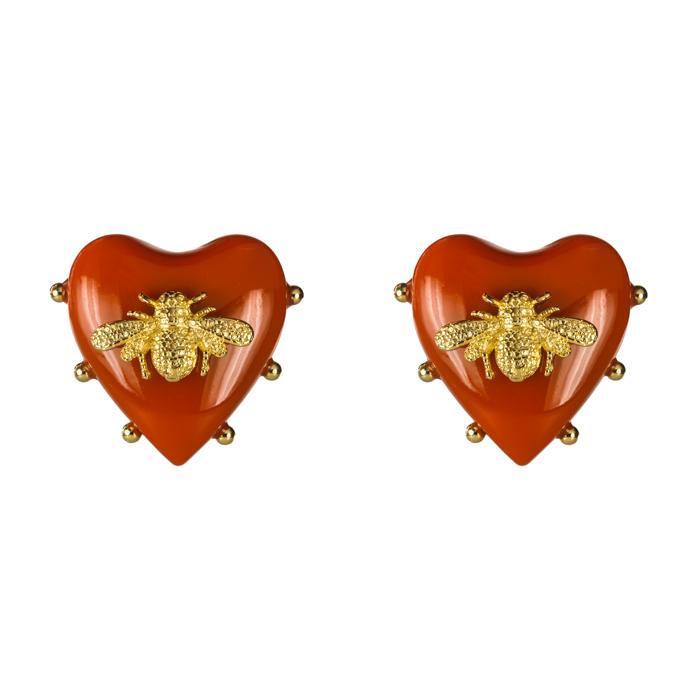 Brinco Coração Resina Terracota com Abelha Banhada a Ouro 18k