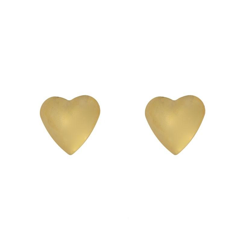 Brinco de Coração Médio Liso Folheado a Ouro 18k