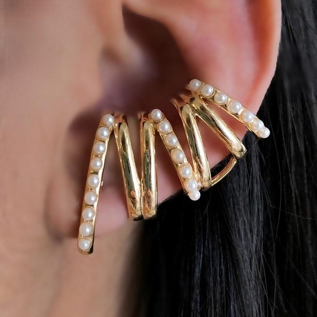 Brinco Ear Cuff 3 Linhas Mini Pérolas e Lisas