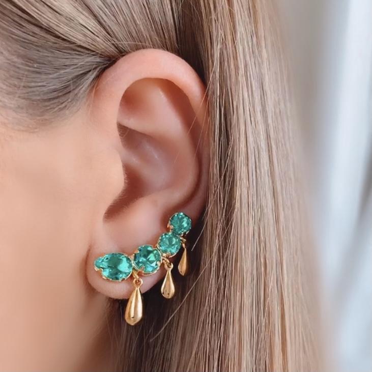 Brinco Ear Cuff 4 Pedras Turmalina Banhado a Ouro 18k