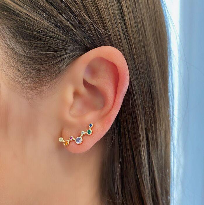 Brinco Ear Cuff Bolinhas Colors Banhado a Ouro 18k
