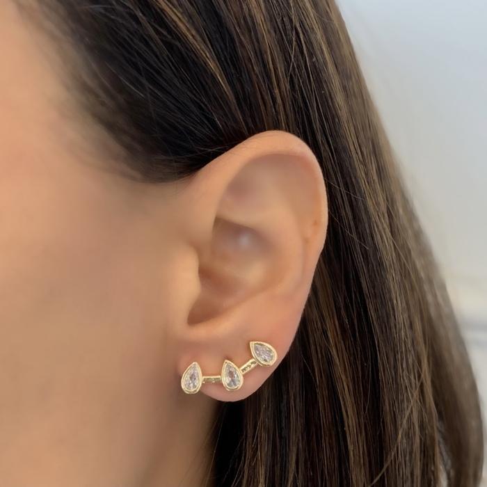 Brinco Ear Cuff Três Gotas Banhado a Ouro 18k