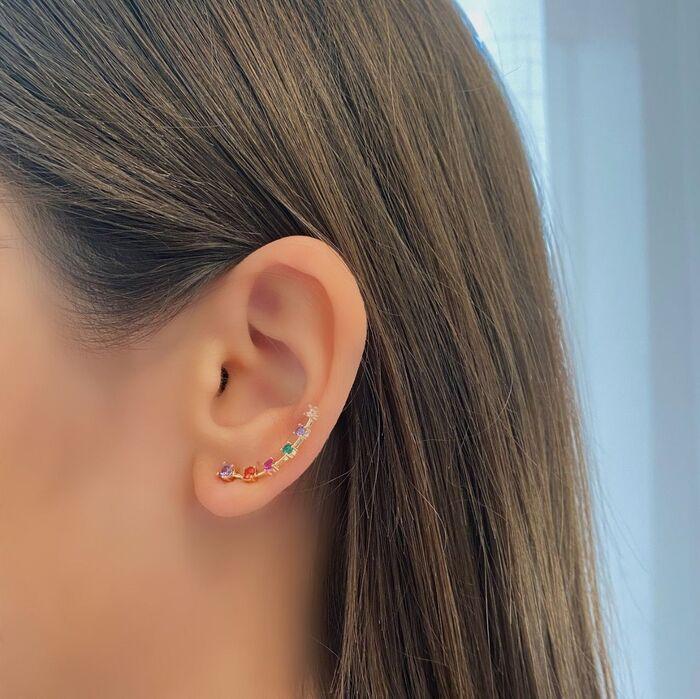 Brinco Ear Cuff Zircônias Colors Banhado a Ouro 18k