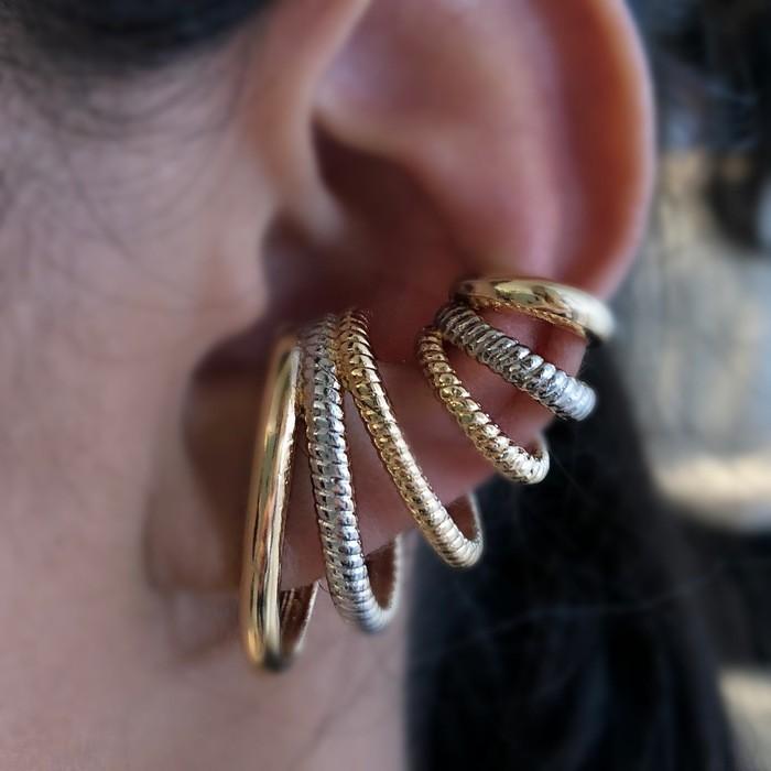 Brinco Ear Hook 3 Fileiras com Banho de Ouro 18k e Detalhes em Ródio Branco