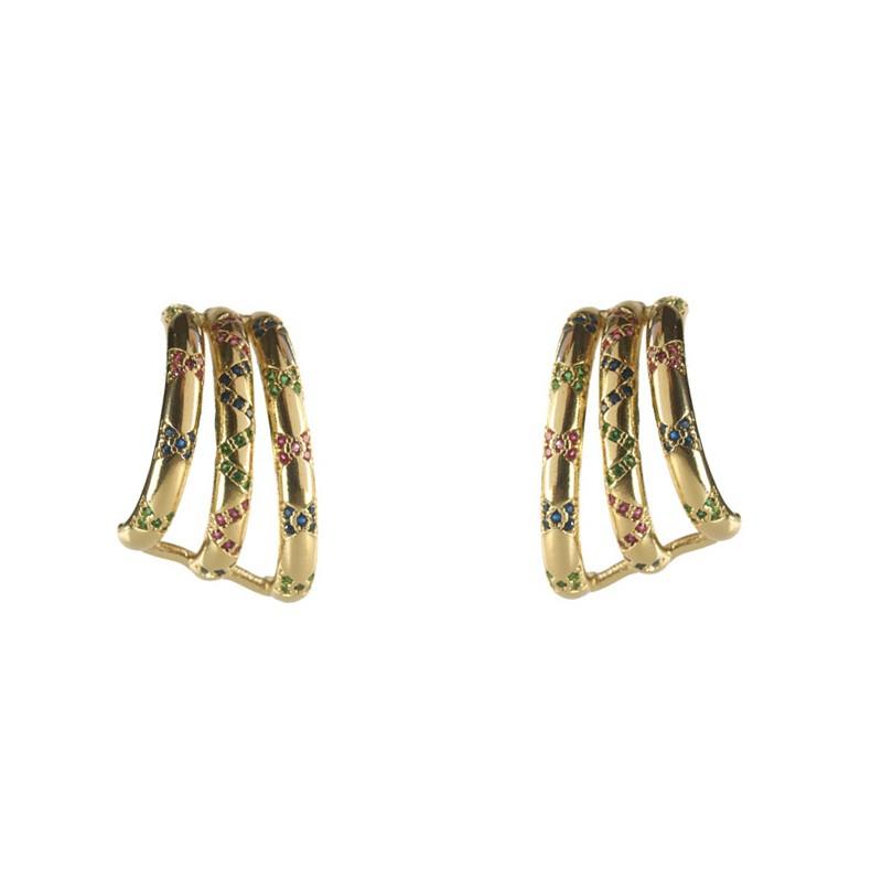 Brinco Ear hook 3 Fileiras com Zircônias Coloridas a Ouro 18k