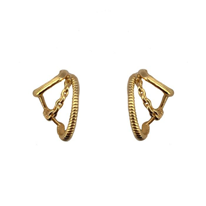 Brinco Ear Hook 3 Fileiras Detalhadas Banhado a Ouro 18K