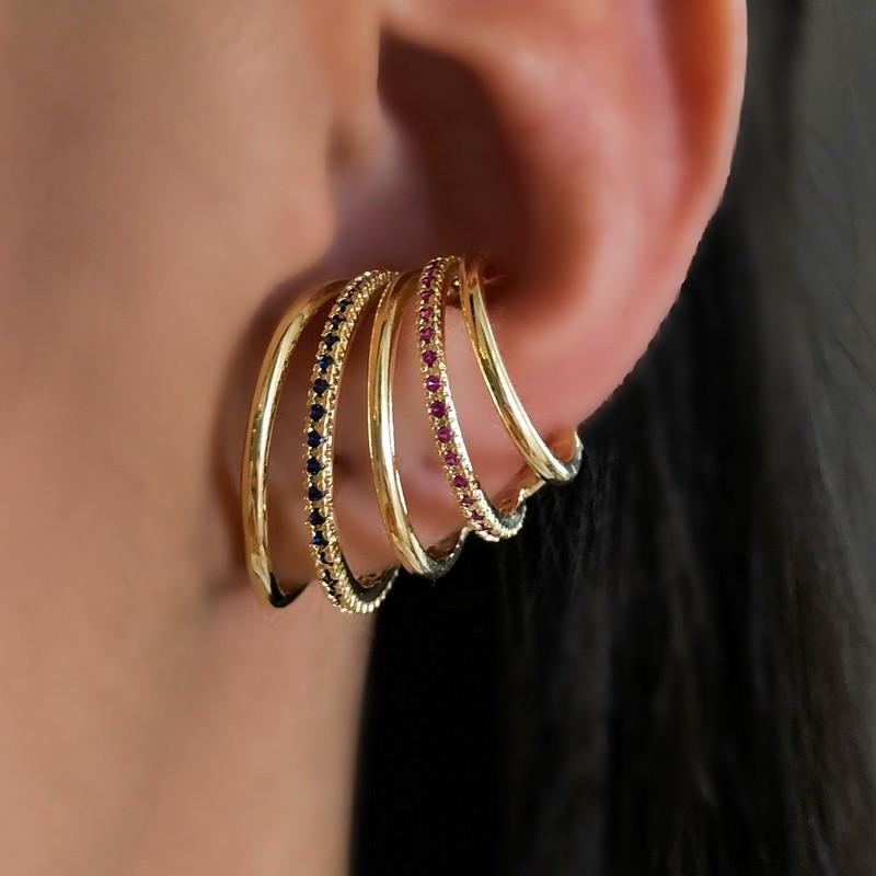 Brinco Ear Hook 5 Fileiras Lisas e Cravejada com Zircônias Coloridas Ouro