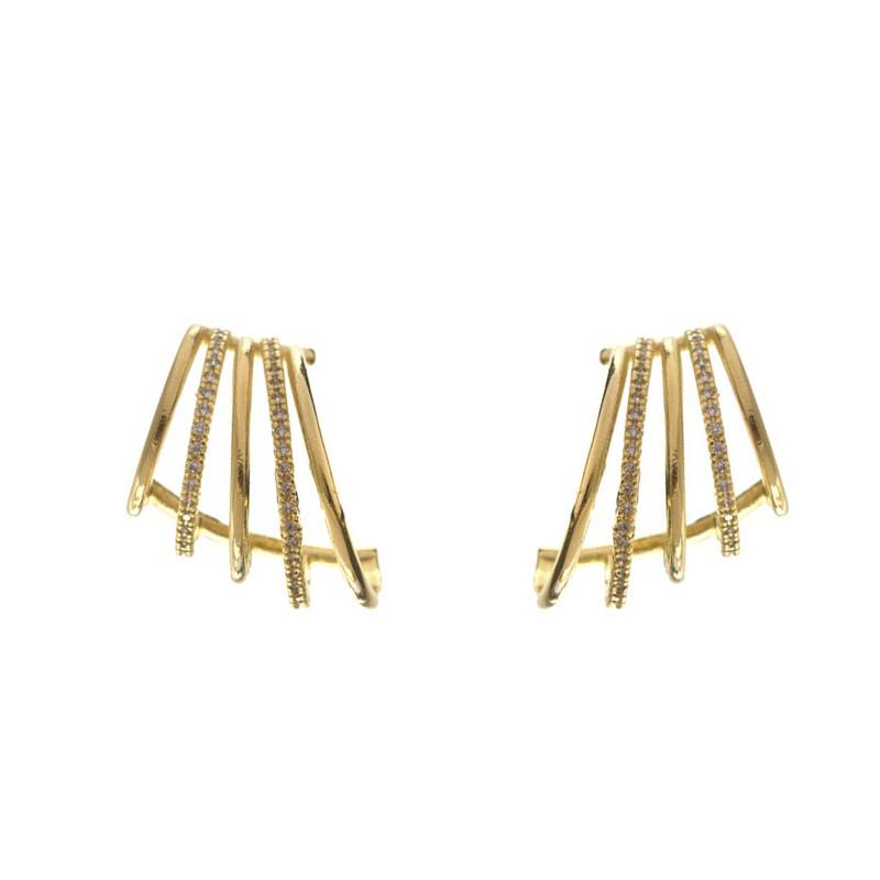 Brinco Ear Hook 5 Fileiras Lisas e Cravejada com Zircônias Cristais Ouro