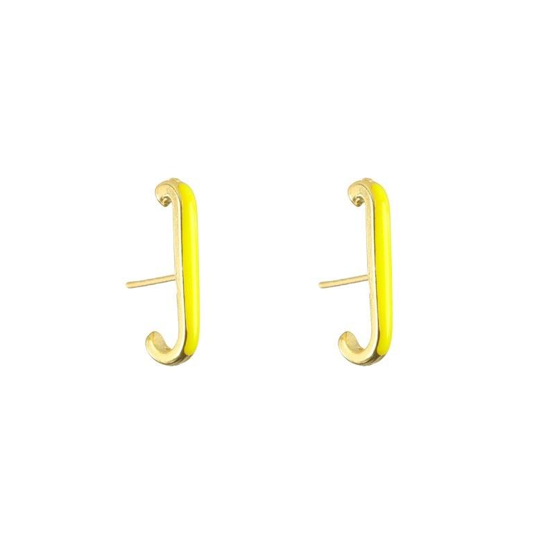 Brinco Ear Hook Amarelo Folheado a Ouro