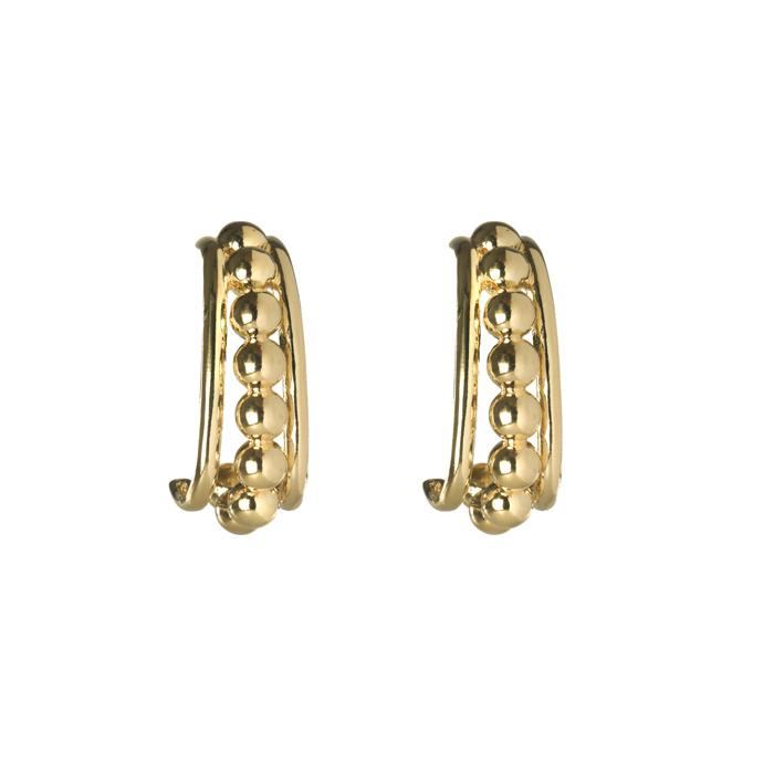 Brinco Ear Hook com Fileira de Esferas Banhado a Ouro 18k