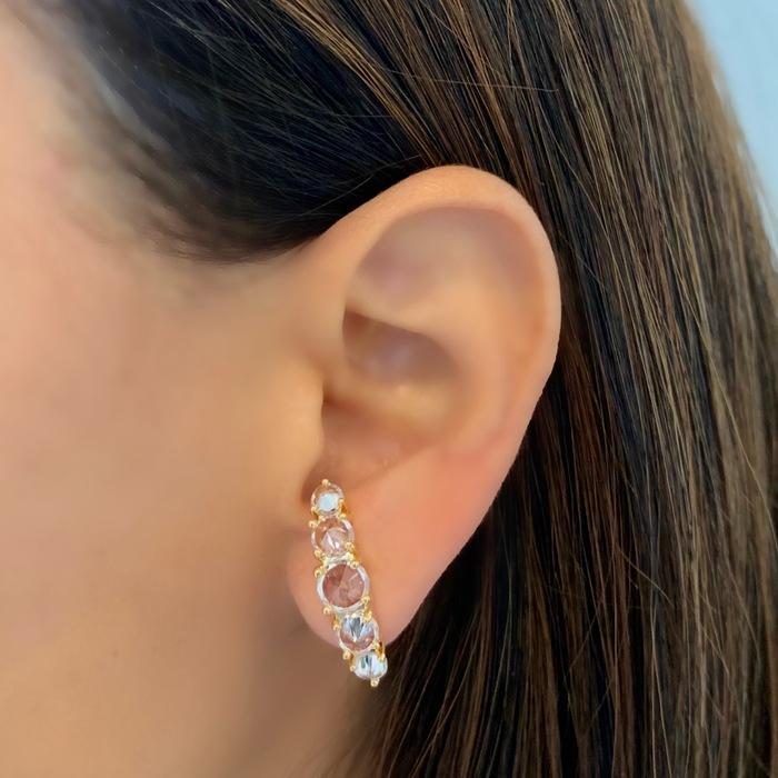 Brinco Ear Hook Cravejado Banhado a Ouro 18k