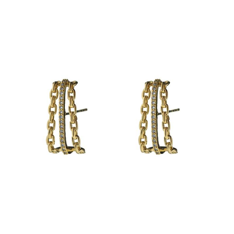 Brinco Ear Hook Fileiras de Corrente e Zircônia Banhado a Ouro 18k