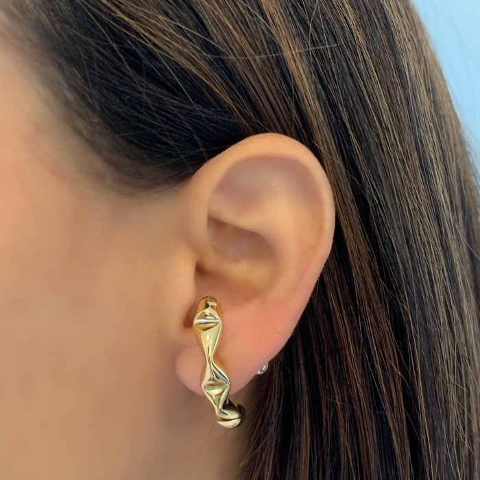 Brinco Ear Hook Grosso Juliette Banhado a Ouro 18k