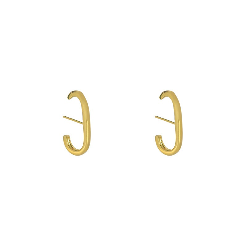 Brinco Ear Hook Liso Folheado a Ouro 18k