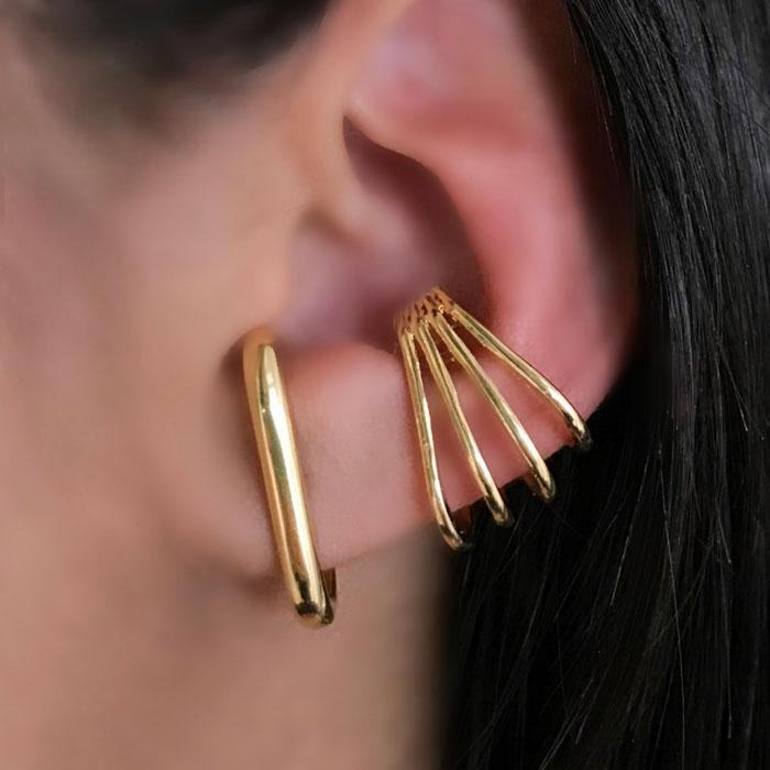 Brinco Ear Hook Liso Folheado a Ródio Branco