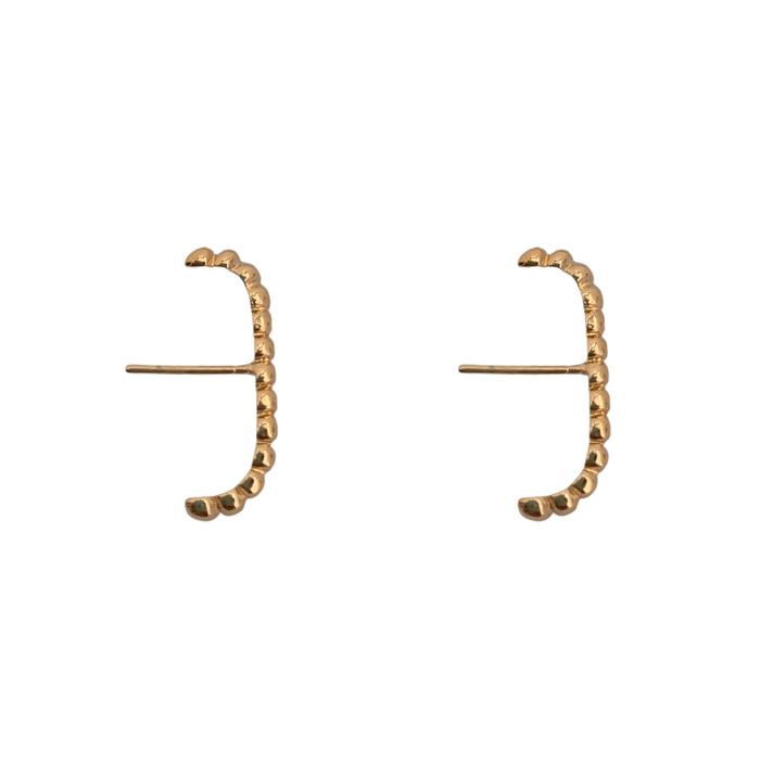Brinco Ear Hook Mini Esferas Banhado a Ouro 18k