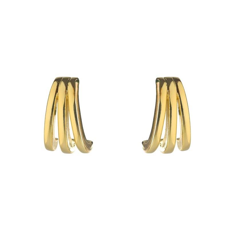 Brinco Ear Hook Três Fileiras Folheado a Ouro