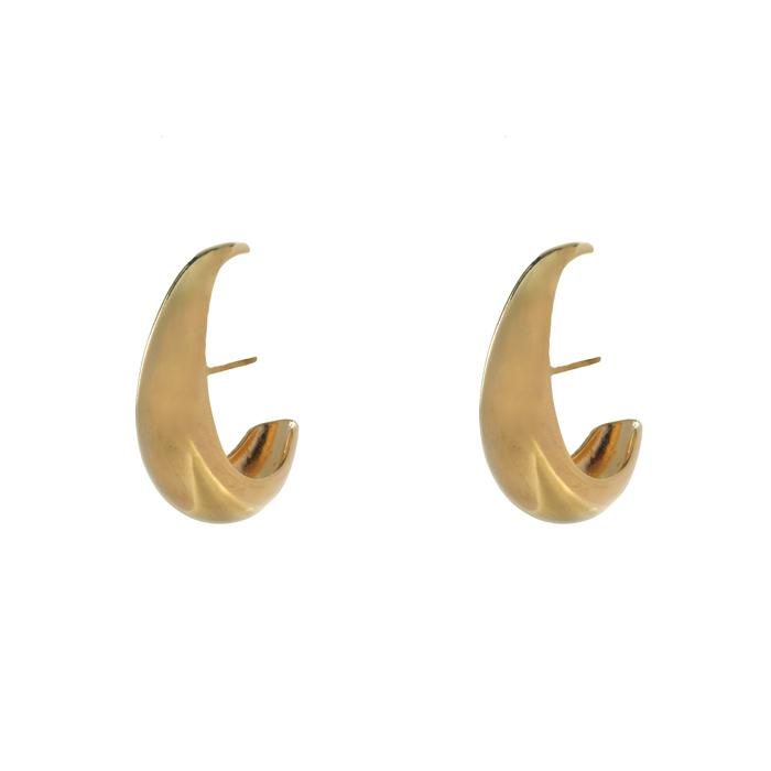 Brinco Ear Hook Tubular Liso Banhado a Ouro 18k