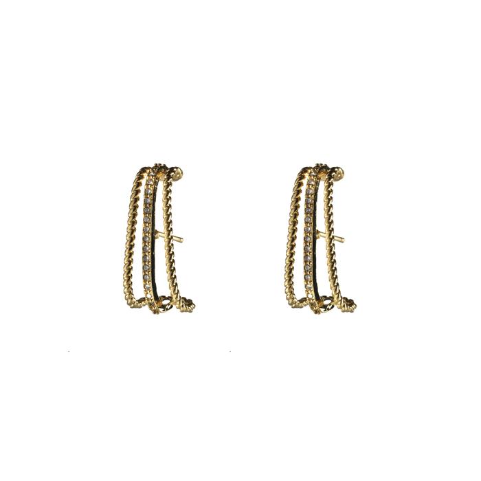 Brinco Ear Hook Uma Fileira com Zircônias Banhado a Ouro 18k