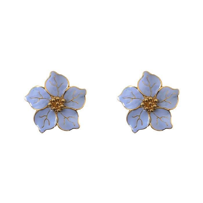 Brinco Flor Esmaltada Azul Claro Banhado a Ouro 18k