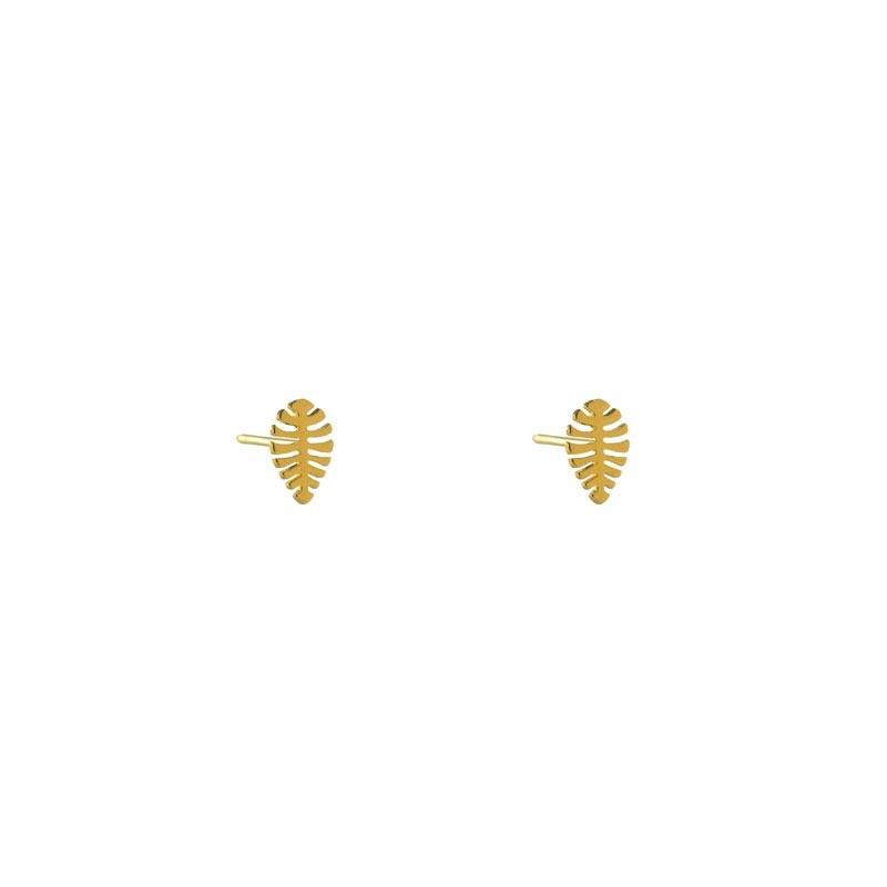 Brinco Folha Minimalista Pequena Folheada a Ouro 18k