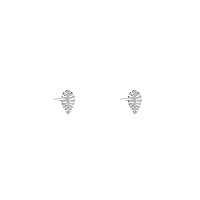 Brinco Folha Minimalista Pequena Folheada a Ródio Branco
