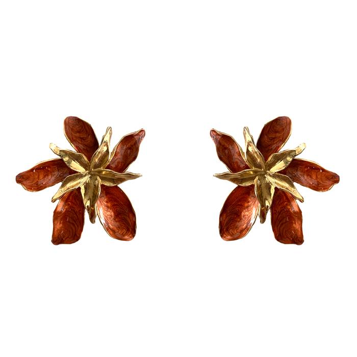 Brinco Maxi Flor Bronze com Meio Dourado Banhado a Ouro 18k