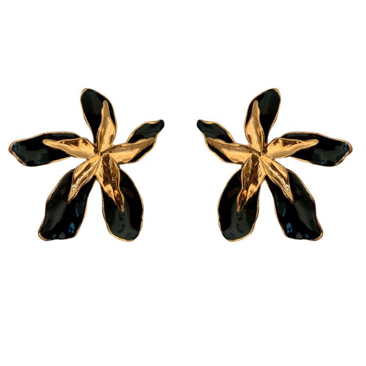 Brinco Maxi Flor Preta com Meio Dourado Banhado a Ouro 18k