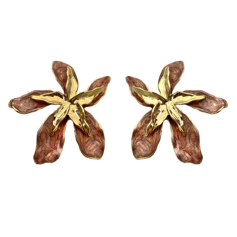 Brinco Maxi Flor Rosa com Meio Dourado Banhado a Ouro 18k