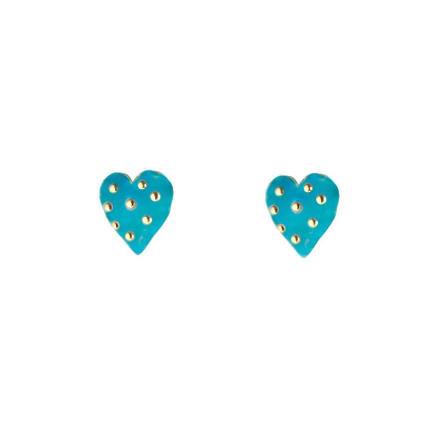 Brinco Mini Coração Azul com Bolinhas Banhado a Ouro 18k