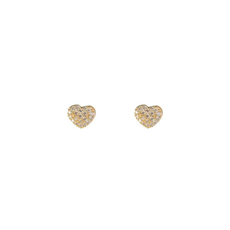 Brinco Mini Coração Microcravejado Folheado a Ouro