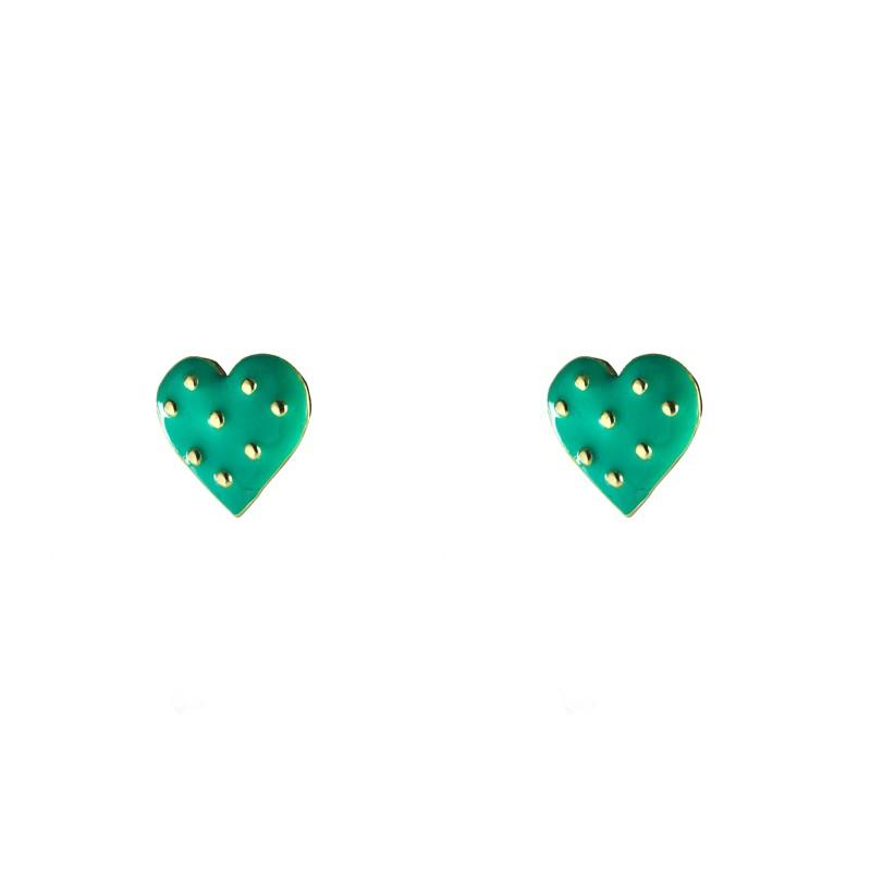 Brinco Mini Coração Verde com Bolinhas Banhado a Ouro 18k