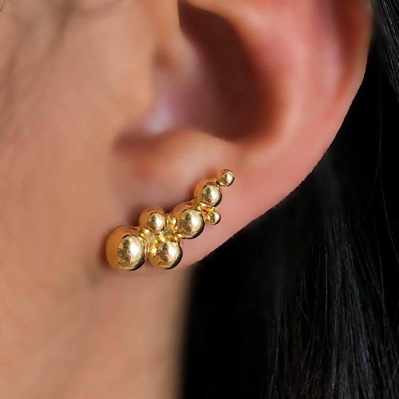 Brinco Mini Ear Cuff Esferas Folheado a Ouro
