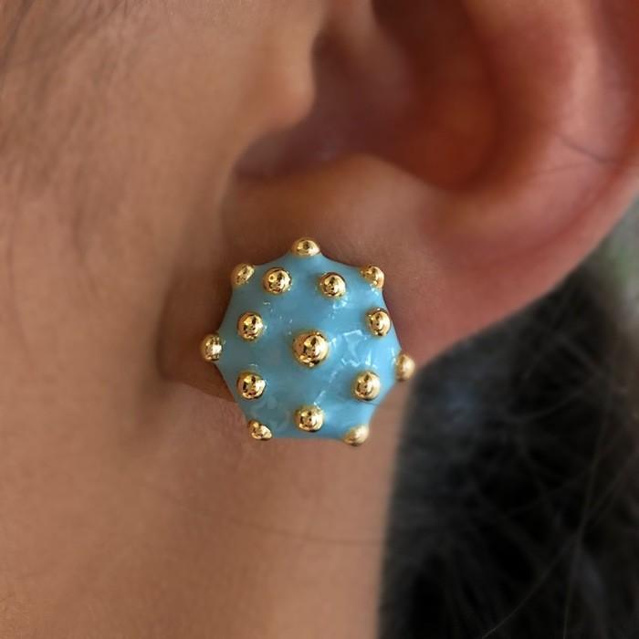 Brinco Mini Pizza Azul com Bolinhas Banhado a Ouro 18k