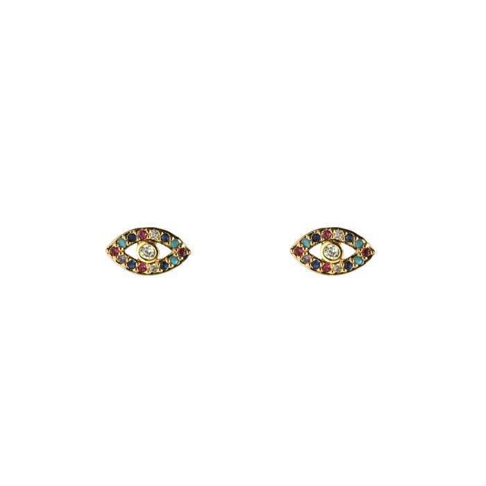 Brinco Olho Grego Microcravejado Colors Banhado a Ouro 18k
