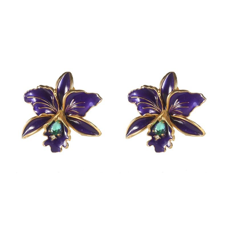 Brinco Orquídea Esmaltado Cor Violeta Folheado Ouro
