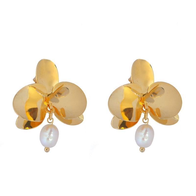 Brinco Orquídea G De Metal Com Pérola e Banho de Ouro 18k