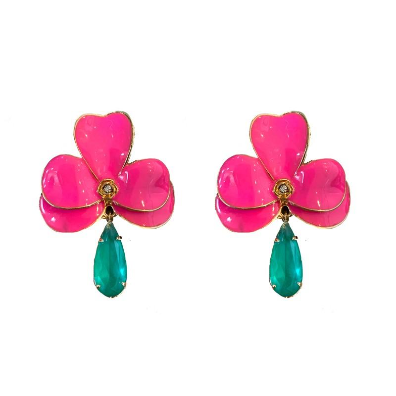 Brinco Orquídea G Esmaltada Pink Com Gota Turmalina Folheado a Ouro 18k