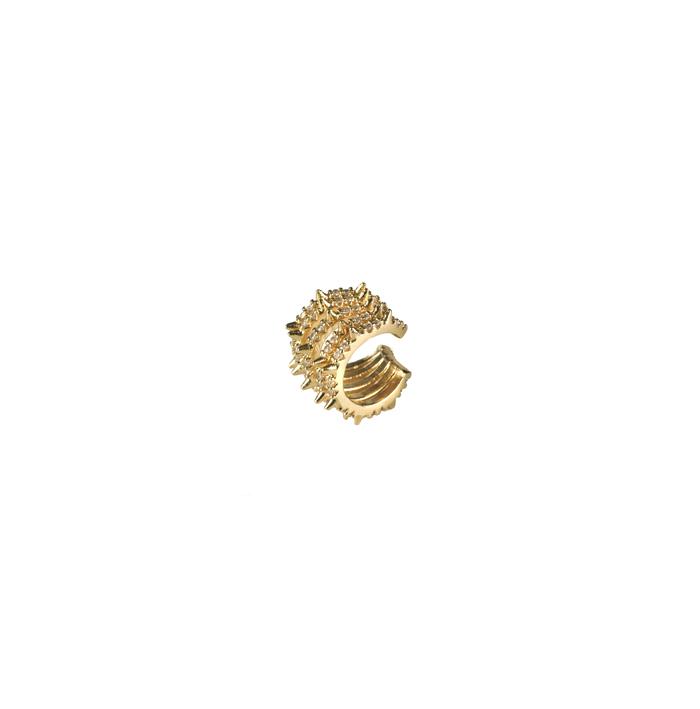 Brinco Piercing 5 Fileiras com Spike e Zircônias Banhado a Ouro 18k