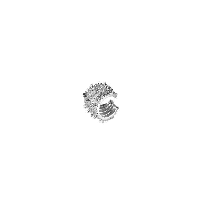 Brinco Piercing 5 Fileiras com Spike e Zircônias Banhado a Ródio Branco
