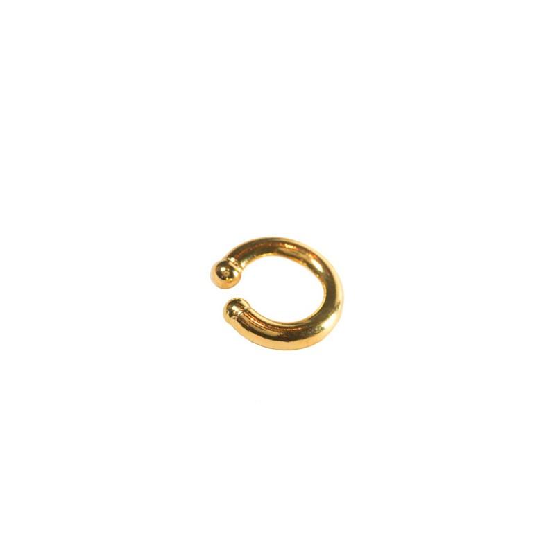 Brinco Piercing Fake de Argola Tubo Liso Folheada a Ouro 18K