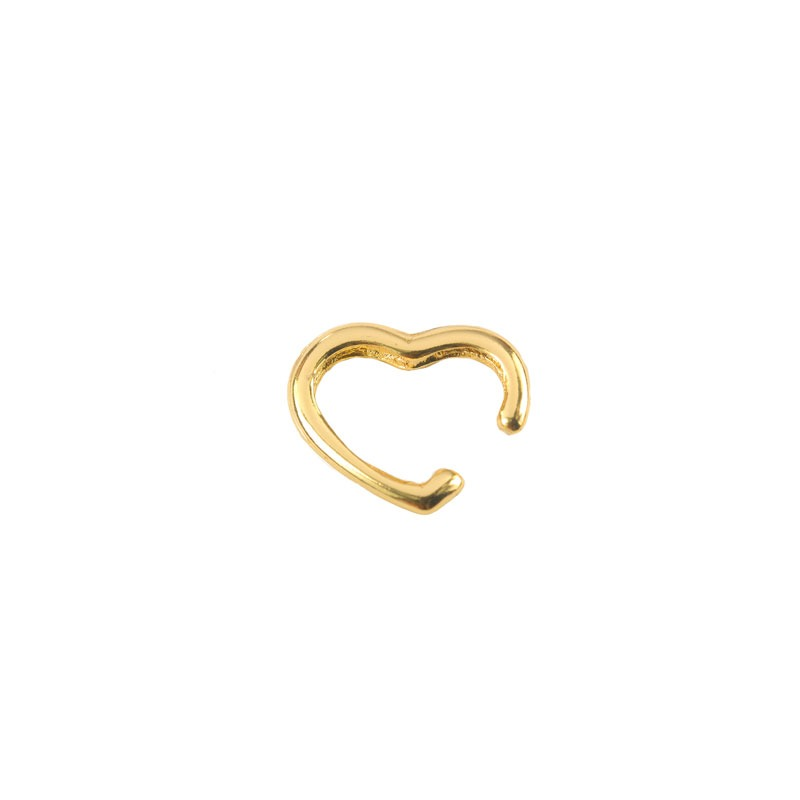 Brinco Piercing Fake de Coração Folheado a Ouro