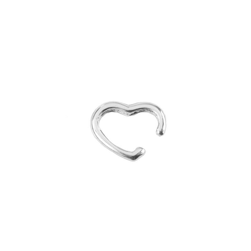 Brinco Piercing Fake de Coração Folheado a Ródio Branco